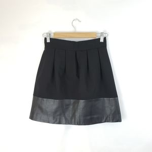 Zara Black Faux Leather Trim Mini-skirt XS